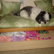made this dog bed from my grandaughters changing table just cut off legs make pad and pillows ..and keep it in the family