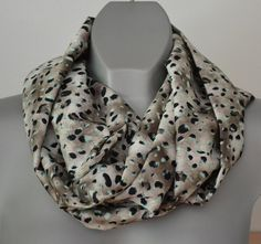 ON SALE Infinity scarf, animal print, leopard pattern, satin multicolor scarf, women fashion, circle, loop, eternity scarves, brown, black n - €15.81 EUR