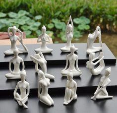 Cerámica blanco yoga estatuilla escultura abstracta decorativa artesanía figurita adornos creativos regalo de la decoración