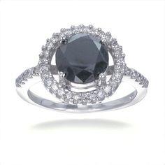 Black Diamond Engagement Ring in 14K White Gold