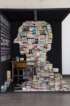 Photo by Melchior Tersen via Andrew Harlow.  Books suspended above an entrance to the Istanbul modern art museum by Hanif Shoaei via Designspiration.  A window display for Harvey Nichols in Manchester via Lusik.  A mobile pop-up bookstore installation by NAM via Spoon and Tamago.  Book insta