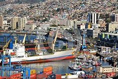 Prat view of port and dock in Valparaiso, Chile