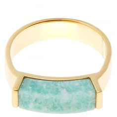 Monica Vinader Gold Plated Amazonite Linear Ring (€110) ❤ liked on Polyvore featuring jewelry, rings, stackable rings, monica vinader, band jewelry, gold plated jewellery and stackers jewelry