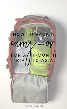 How to pack for a 30-day trip to Asia using a small carry-on bag.   packing list and video.