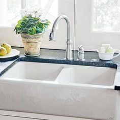 Install a double-bowl sink in your kitchen to ease cleanup and add style. Browse here to find multiple styles, colors, sizes, and installation types, and decide which sink will fit in perfectly in your kitchen. Country Style Kitchen, Sink, Soapstone Countertops, Kitchen Styling, Kitchen, Divider, Double Bowl Sink, Deep Sink, Farmhouse Sink