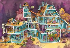 "Pathways/ladders/rooms: ""Monster Bash"" by Matt Hammill for children's magazine _chickaDEE_ Writing Pictures, Canada, Magazines For Kids, Halloween House, Teaching English, Speech Therapy, Maze, Illustrators, Horror"