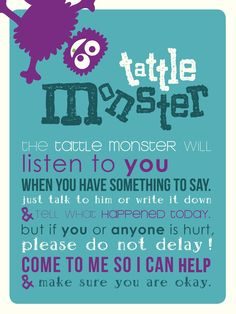 Tattle Monster classroom poster