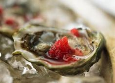 Frozen shards of raspberry mignonette are a cool complement to oysters.