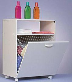 7. Da Casa das Prateleiras, o móvel revestido de laminado plástico tem cesto para roupa suja acoplado a uma porta basculante (60 x 38 x 79 cm).