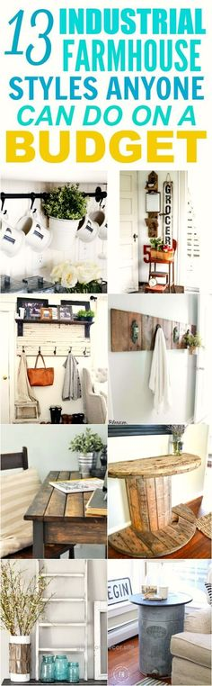 Unbelievable These 13 farmhouse styles on a budget are THE BEST! I'm so glad I found these AMAZING DIY projects! Now I have some cute ideas on how to decorate my home! Definitely pinning for later!  ..