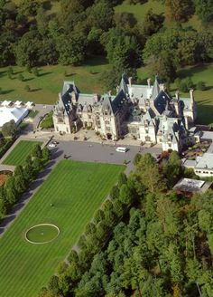 The grand Biltmore House castle in Asheville NC - from the air