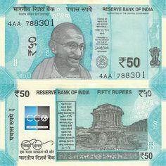 La Reserve Bank of India poursuit son changement des billets avec ce nouveau 50 roupies, sorti en octobre 2017. Les prochains à être changés seront les billets de 100.