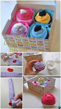DIY Baby Onesies Cupcake Gift Box-Handmade Baby Shower Gift Ideas Instructions