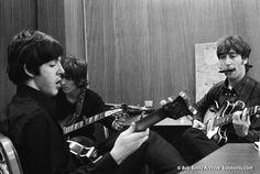 Paul McCartney, George Harrison, John Lennon Rehearse Backstage in Detroit, August 13, 1966 photo by Bob Bonis