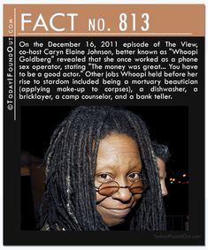 """On the December 16, 2011 episode of The View, co-host Caryn Elaine Johnson, better known as """"Whoopi Goldberg"""" revealed that she once worked as a phone sex operator, stating """"The money was great… You have to be a good actor."""" Other jobs Whoopi held before her rise to stardom included being a mortuary beautician (applying make-up to corpses), a dishwasher, a bricklayer, a camp counselor, and a bank teller."""