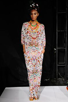 Mara Hoffman Spring 2012 collection. Peruvian inspired colorful printed moo moo with pockets. Fun and comfy looking!