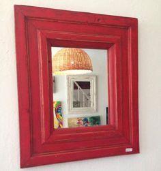 Espejo DecoWall - Pátina Roja con betún