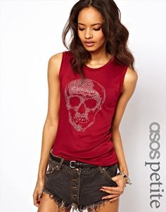 ASOS PETITE Exclusive Vest With Studded Skull