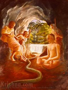"""""""By the dictation of the Lord, who lived also within the heart of the snake, the snake gave preference to Haridāsa and decided to leave the place and not disturb him. So this is a tangible example of how the Lord gives protection to a bona fide devotee like Ṭhākura Haridāsa."""" http://vaniquotes.org/wiki/Haridasa_Thakura_and_the_snake"""