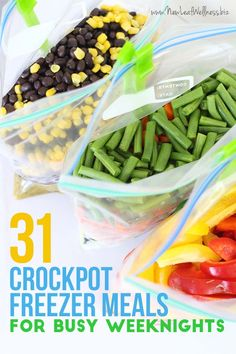 31 Crockpot Freezer Meals for Busy Weeknights. All of the recipes and grocery list are included!