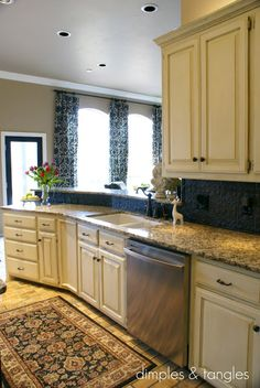 How to Cover an Ugly Kitchen Backsplash Cottage white by behring cabinets. Painted island did color. Tin for a Backslash