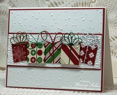 Stamping with Klass: Merry Monday Gifts Galore Stampin' Up! Cherry Cobbler, Snow Burst EF, Bows die (MB)
