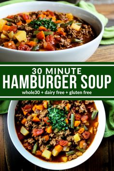 Healthy 30 Minute Hamburger Soup is delicious and so easy to make. It's a hearty and rustic dish that warms you from the inside out. Plus it's dairy free, gluten free, and compliant. Paleo Soup, Healthy Soup Recipes, Chili Recipes, Dairy Free Recipes, Real Food Recipes, Healthy Hamburger Recipes, Beef Broth Soup Recipes, Whole30 Soup Recipes, Whole 30 Recipes