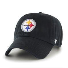 reputable site 4b4b8 4aae6 Pittsburgh Steelers Clean Up Black 47 Brand Adjustable Hat