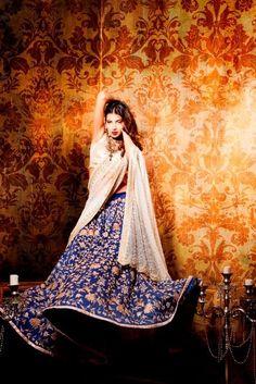 Zara Shahjahan blue lengha