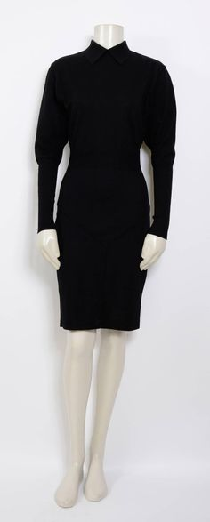 Alaia Jet Black Wool 1980s Dress For Sale 1