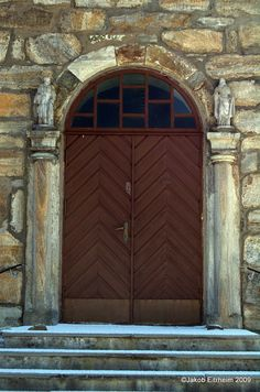 Door to Steigen church, built in 1869, Norway