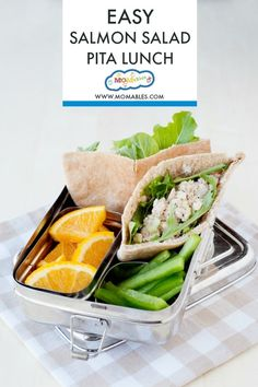 Swap the regular tuna sandwich for this Salmon Salad Pita! It works in sandwiches, with crackers, or like today's recipe, stuffed in a pita! #schoollunch #lunchboxideas