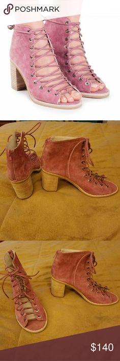 Jeffrey Campbell Cors lace up heeled booties Pink suede lace up heeled booties with a zipper back, thick heel. NEW W/O TAG. Never worn. Open to trades or offers. Jeffrey Campbell Shoes Ankle Boots & Booties