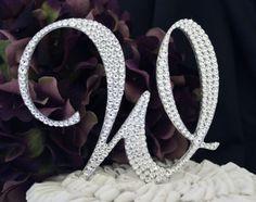 """5"""" Monogram Wedding Cake Topper with Swarovski Crystals Letter A B C D E F G H I J K L M N O P Q R S T U V W X Y Z"""