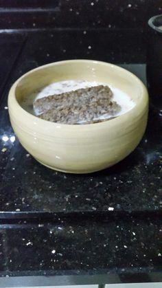 Thrown bowl honey dipped.