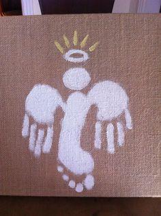 Jake's handprint and footprint angel
