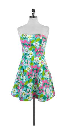 Lilly Pulitzer Floral Print Cotton Strapless Dress