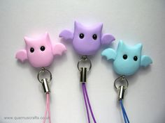 Phone Charm - Little Bat Halloween Phone Charm Key Ring Strap various colours. £5.00, via Etsy.