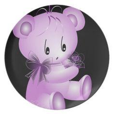 Purple Teddy Bear With Rose Black Background Dinner Plates | Zazzle