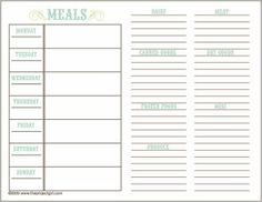 Menu planning printable with shopping list