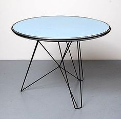 Round side-table IJhorst with formica top on wire-stand design Constant Nieuwenhuijs 1953 executed by t Spectrum however marked Boco Utrecht Holland