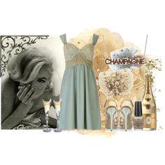 Blue Slip Dress with Beige