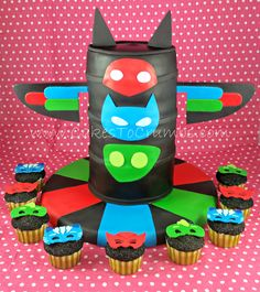 PJ Masks Tower cake and Mask Cupcakes