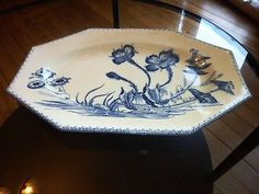 RARE-ANCIEN-GRAND-PLAT-FAIENCE-EMAILLEE-CLAIREFONTAINE-SERIE-INDIANA-PAVOTS