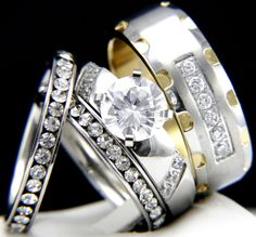 His Hers 4 pcs Womens Engagement Stainless Steel & Mens Wedding Bridal Rings Set #InterStoreJewelry