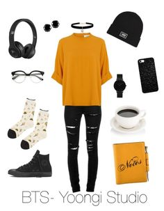 """""""BTS- Yoongi Studio"""" by zucca0 on Polyvore featuring Yves Saint Laurent, Beats by Dr. Dre, CLUSE, Vans, Hermès, West Coast Jewelry, Hansel from Basel and Betsey Johnson"""