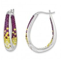 Spirit Collection- Purple, Gold, & White Team Colors Sterling Silver Swarovski Elements Spirit Earrings