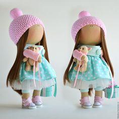 Купить Интерьерная текстильная кукла-девочка Kristal - мятный, розовый, интерьерная кукла, текстильная кукла