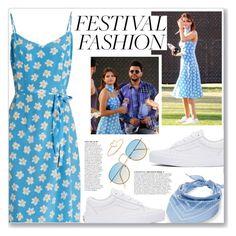 """Festival Fashion: Selena Gomez"" by myduza-and-koteczka ❤ liked on Polyvore featuring HVN, Vans, Steve Madden, Anja and Aurélie Bidermann"