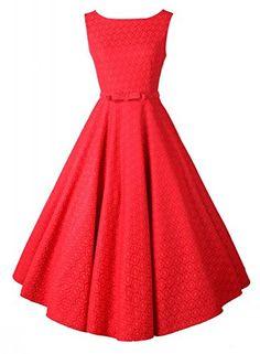 []  Anni Coco® Women's 1950s Audrey Hepburn Lace Crochet Vintage Evening Dress Red Large []---